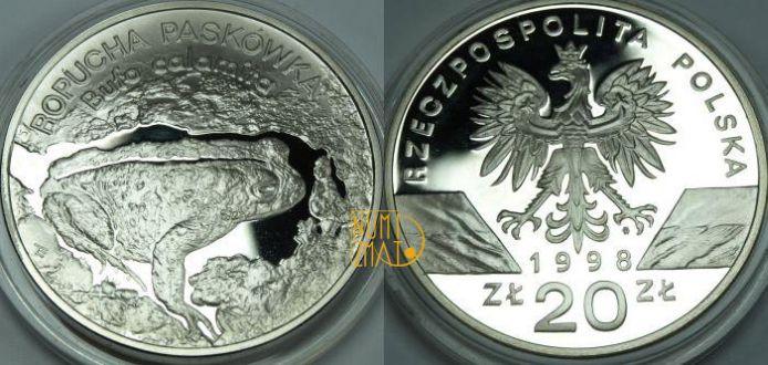 20 zł 1998 r. – Ropucha paskówka (Bufo calamita), Zwierzęta Świata